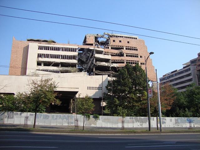 War destroyed building in Pristina, Kosovo