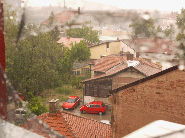 The view from Sweet Hostel on a rainy day, Nis, Serbia