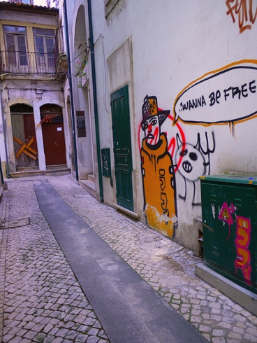 Coimbra, Portugal (28) - back alley with Wahha Be Free graffitti - street art