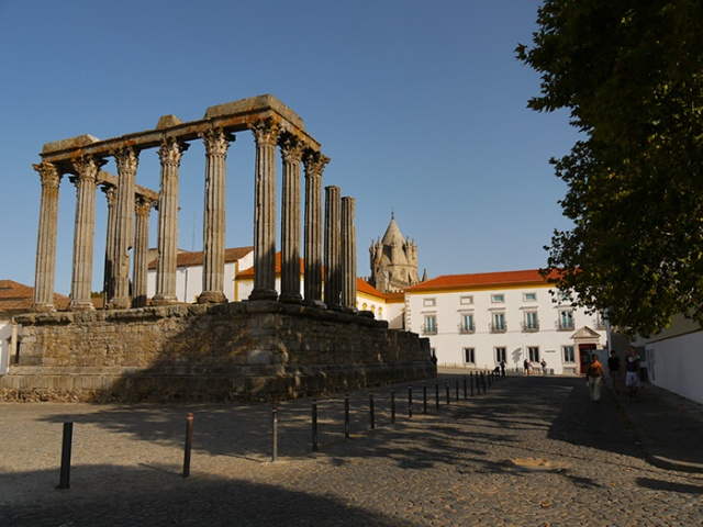 Evora, Portugal (39) - The Temple of Diana and the Cathedral in the background