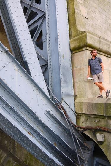 Porto, Portugal (105) - Jon standing next to the Luís I Bridge
