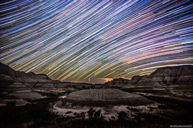 WiredNomads - Startrails seen in the Badlands National Park, South Dakota, USA